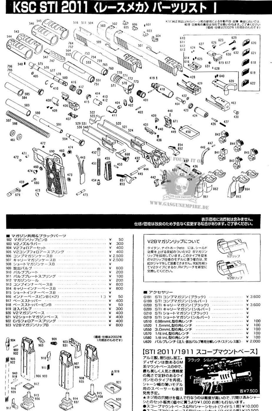 Explosionszeichnungen    Explosion Drawing    Parts Diagram - How-tos - Gas Gun Empire