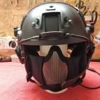 Helm und Funkausrüstung