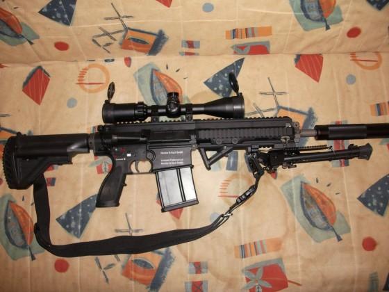 VFC Hk417 GBB mit einem Walther 3-9x44 Zielfernrohr, einem NcStar Harris Bipod und einem Begadi Schalldämpfer
