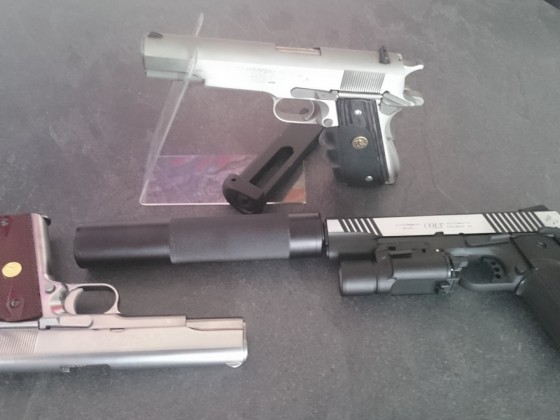WE 1911, Cybergun Colt 1911 Rail Gun, Inokatsu Series 70's Version Colt 1911 Stainless Steel